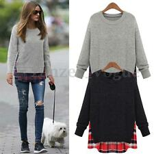 Women Autumn Checks Plaids Splice Long Sleeve Shirt Sweater Pullover Tops Blouse