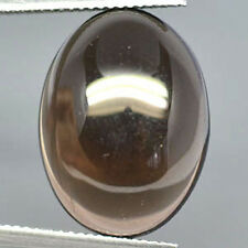 A PAIR OF 14x10mm OVAL CABOCHON-CUT NATURAL AFRICAN SMOKEY QUARTZ GEMSTONES