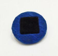 """Vintage Big Button Royal Blue Cable Knit Black Velvet Metal Back Shank 1-9/16"""""""