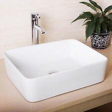 Bathroom Rectangle Ceramic Vessel Sink White Porcelain & Chrome Faucet Combo US