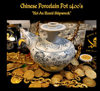 PORCELAIN POT HOI AN HOARD SHIPWRECK 1400's PIRATE GOLD COINS TREASURE ESCUDOS
