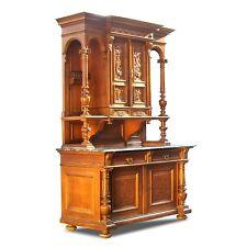 Kredenz antik Anrichte Buffet eleganter Schrank mit Marmorplatte Säulen