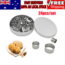 24x Stainless Steel Biscuit Baking Mini Cookie Cutters Durable Geometric Shapes