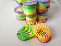 1x Rainbow Coloured Spring Slinky  Childrens Toy Springs Bouncy Toy For Party UQ