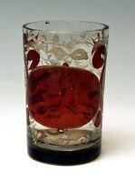 BIEDERMEIER BECHER GLAS RUBINIERT MEMORY BEAKER BÖHMEN BOHEMIA UM 1870