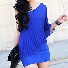 Chic Women's Sexy One Shoulder Cocktail Clubwear Party Mini Short Dress Navy LG