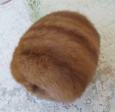 "Vintage Large Light Brown Mink Fur Muff Hand Warmer 10"" Long Very Lovely"