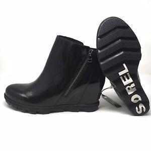 NEW Sorel Joan Of Arctic II Waterproof Wedge Black Patent Zip Bootie Boot