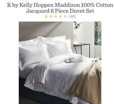 Kelly Hoppen Maddison 100% Cotton Jacquard 6 Piece Duvet Set King Size White New