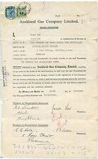 Nueva Zelanda Auckland Gas Co Postal fiscales 7/1949 + 3/6 - formulario de transferencia SHARE