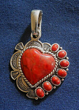 DESIGNER NK CAST STERLING Silver Red STONE Cabs Ladys HEART PENDANT