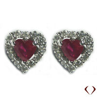 1.59CTW Ruby and Diamond Earrings 18K White Gold