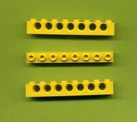 Lego--Lochbalken--3702--gelb--1 x 8 --7 Loch--3 Stück--