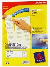Avery clear inkjet address labels 25 Sheet Packs J8562-25