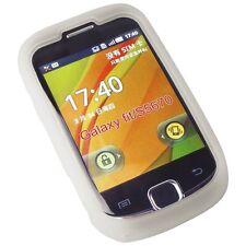 Blanco Estuche De Silicio funda para Samsung S5670 Galaxy Ajuste