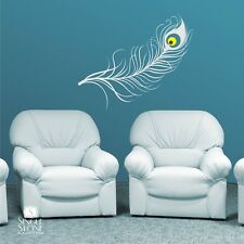 Wall Decal Peacock Feather - Vinyl Art Stickers Graphics