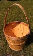 "7Bb89 Wooden Basket With Handle: 12-1/2"" Diameter, 10-3/4"" Tall (21-1/2"" W/Hndl)"