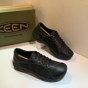 New! KEEN Women's Presidio Oxford Shoe Leather Black Black Size 8 M