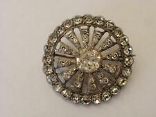 LATE VICTORIAN SILVER & 'DIAMOND' ROUND BROOCH -PASTE - C 1890