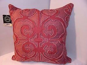 "Square Pillow Rose Pink 20""x20"" SURYA Fushia Raised Design Amelia Geometric"