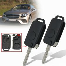2Pcs Flip Remote Key Fob Case Shell Uncut Blade Replace For Mercedes-Benz 92-03