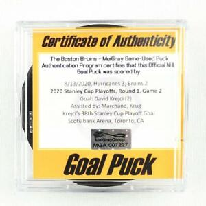 2019-20 David Krejci Boston Bruins Game-Used Goal-Scored Puck -Playoff Bubble!