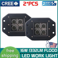 2X 16W 5''inch Flush Mount Led Lights Pods Reverse Driving Flood for Jeep Truck