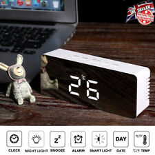 Large Mirror Digital LED Snooze Alarm Clock Time Temperature Night Mode Modern
