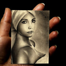 original hand drawing charcoal miniature ACEO art picture fashion woman portrait