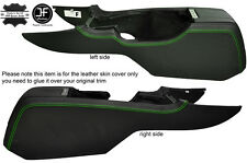 GREEN STITCH 2X CENTER CONSOLE SIDE TRIM LEATHER COVERS FITS FORD MUSTANG 10-14