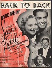 1939 Irving Berlin / Sonja Henie Movie (Second Fiddle) Music (Back to Back)