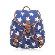 Pineapple Sausage Dog Canvas Rucksack School Backpack Polka Dot Butterfly Flower Star - Blue
