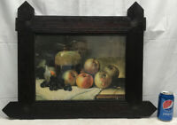 Vtg 1930-40's Litho Fruit Pitcher Apples Grapes Wood Black Forest Wood Frame