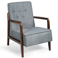 Lounge Chair Mid-Century Retro Modern Accent Chair Tufted Back Upholstered Grey