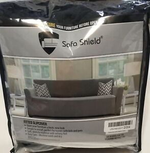 """Sofa Shield Fitted Oversize Sofa Couch Protector 1 Piece Width up to 78"""" Black"""