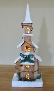 brown Wood Xmas House 49 cm decoration & LED lights Handmade Display