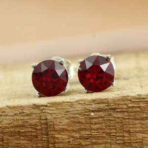 2ct Round Red Ruby Men's Solitaire Stud Earring 14k White Gold Finish 925 Silver
