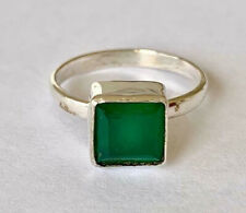 925 Sterling Silver Green Onyx Ring Square Emerald Cut Size 5 6 7 8 9 10 11