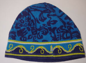 ISIS Wool Blend Beanie OS Turquoise Navy Blue Lime Green Fleece Lined
