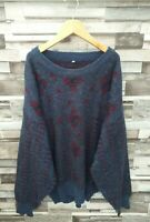 MENS VTG RETRO 90'S WOOLLEN ALPACA WINTER GEOMETRIC ABSTRACT COSBY JUMPER L/XL