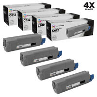 LD Compatible Replacement for Okidata 46507504 Black Toner 4PK for C612dn, C612n