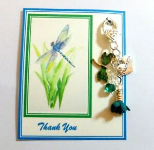 Thank you Gift Suitable for All Ladies Handbag Charm on Gift Card with Dragonfly