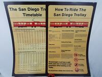 VINTAGE San Diego Trolley Timetable/How To Ride The Trolley Sign 22-1/4 x 35-1/2