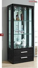 LOCKABLE with lights Glass & wood Display Cabinet Show Case Storage wall Display