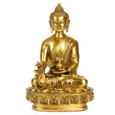China Folk Tibet Brass Buddhism Shakyamuni Buddha & Bowl Statue