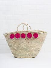 GRANDE Rosa Caldo Pom Pom mercato francese Cesto Da Spiaggia Tote Shopper Fucsia Borsa di paglia