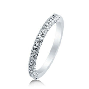 Sterling Silver 925 CZ Anniversary Vintage Style Promise Wedding Band Ring 4-10
