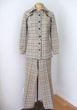 Vtg 70s Mod Poly Knit Plaid 2-Pc Top Jacket Wide Leg Flare Pant Western Suit 10