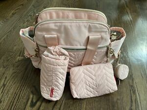 Skip Hop Pink & Light Gray Suite Diaper Bag w/ Diaper Pad - New without Tags