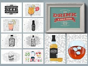 Retro  Beer & Wine Wall Decor For Kitchen / Man Cave / Home Bar Quote Prints